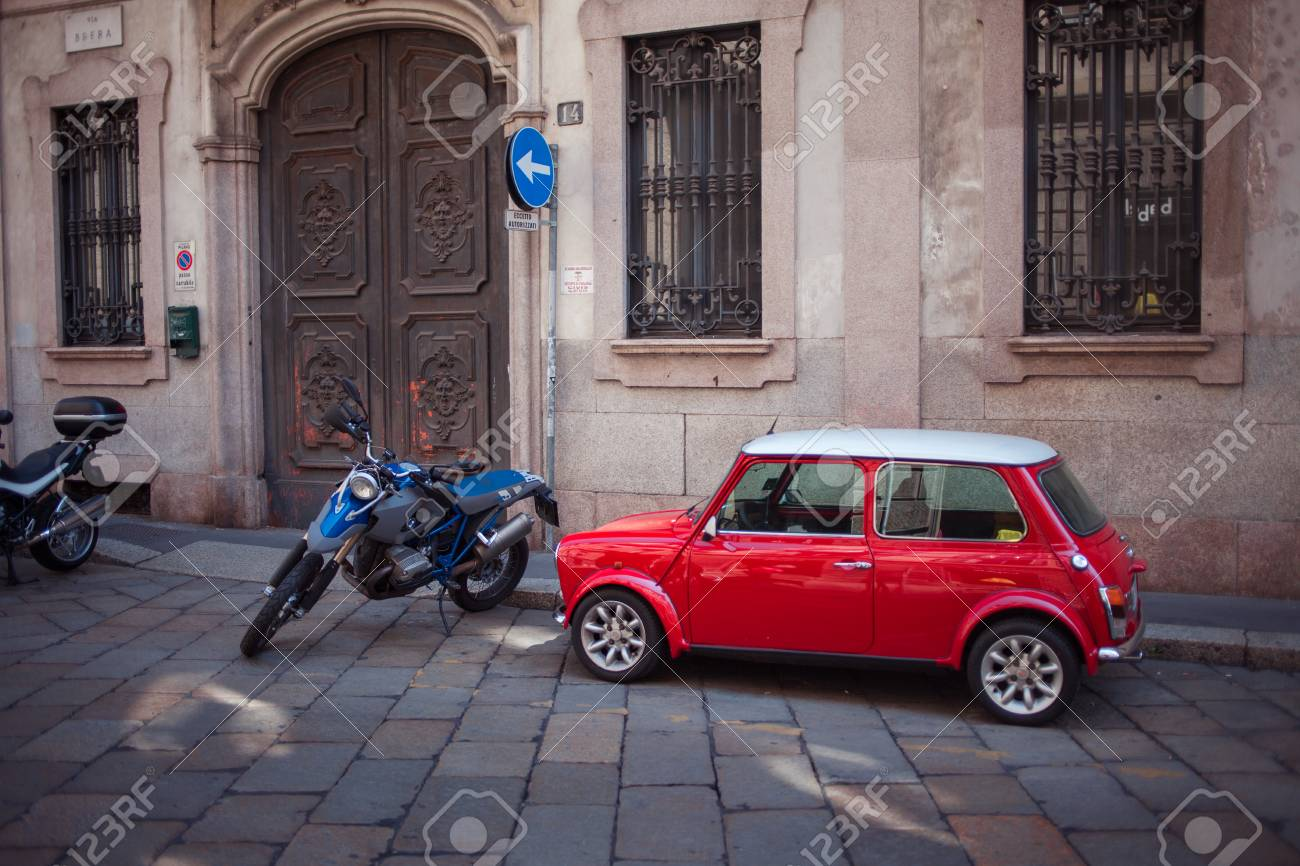 Little Red Car >> Milan Italy May 28 2012 Little Red Car And Motorcycle Features