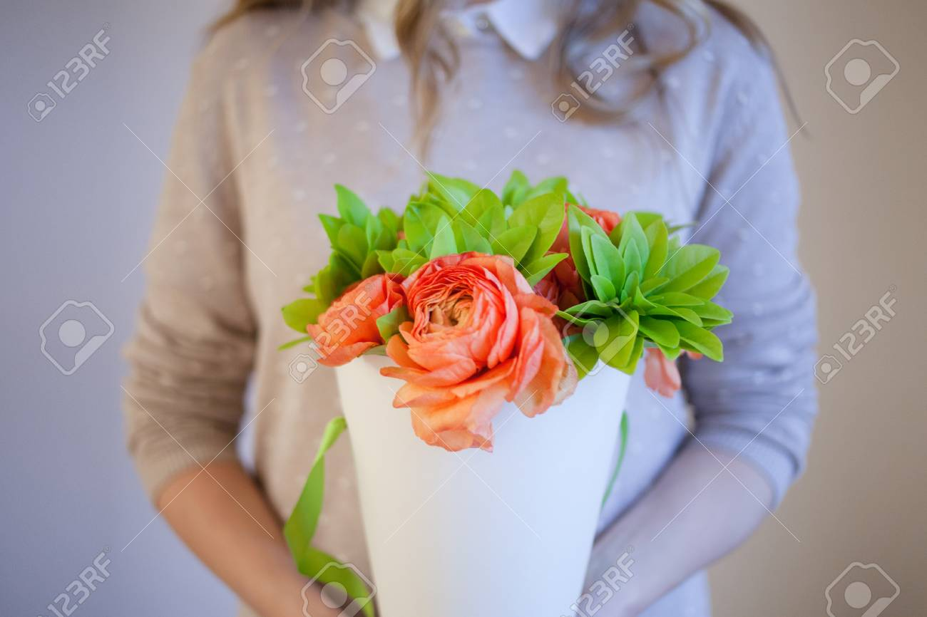 Flower Delivery To The Office Young Woman Holding Beautiful Stock