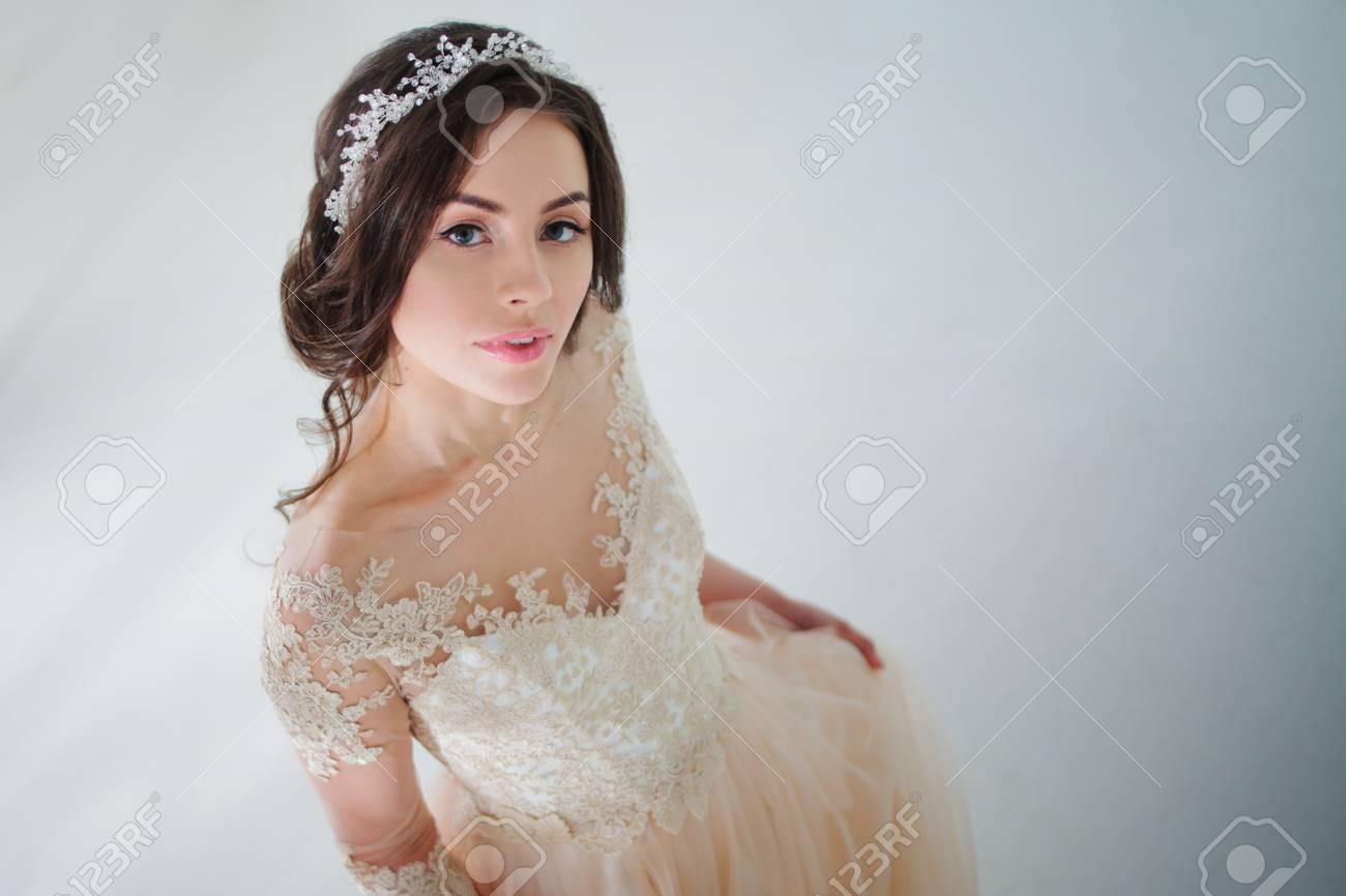Beautiful Attractive Brunette Bride In Wedding Dress With Long