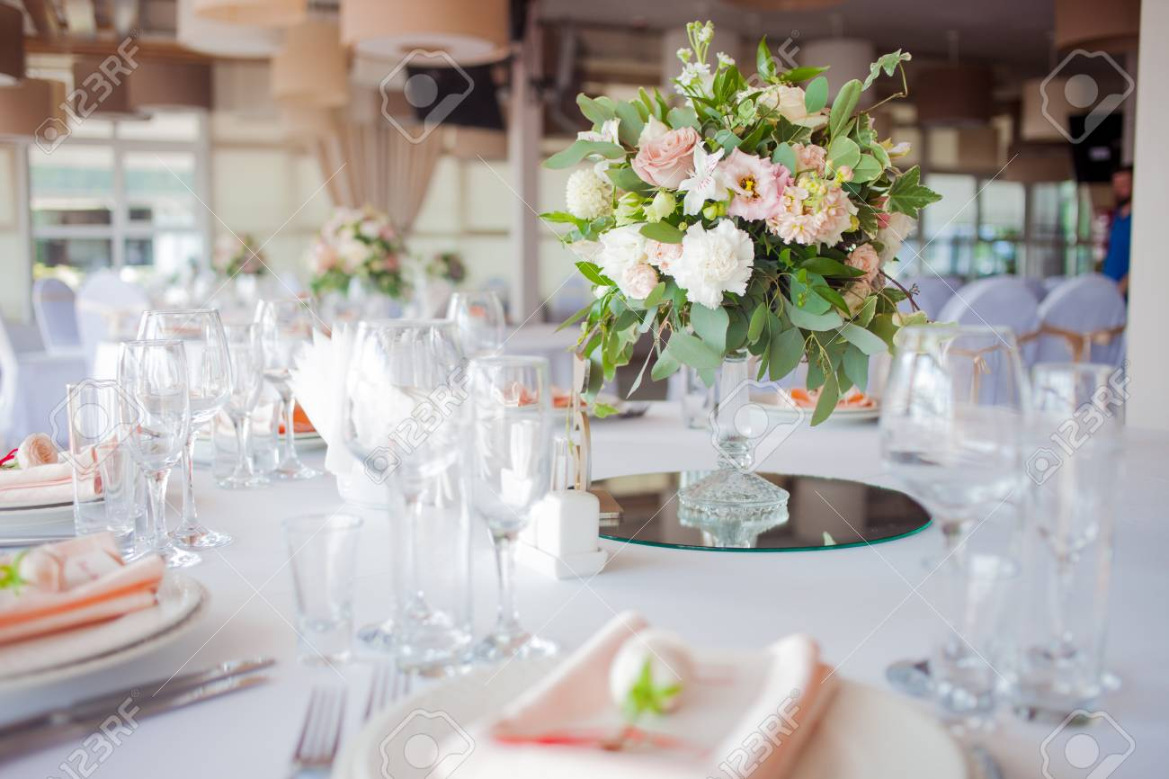 Wedding Decor. Flowers In The Restaurant, Table Setting Stock Photo ...