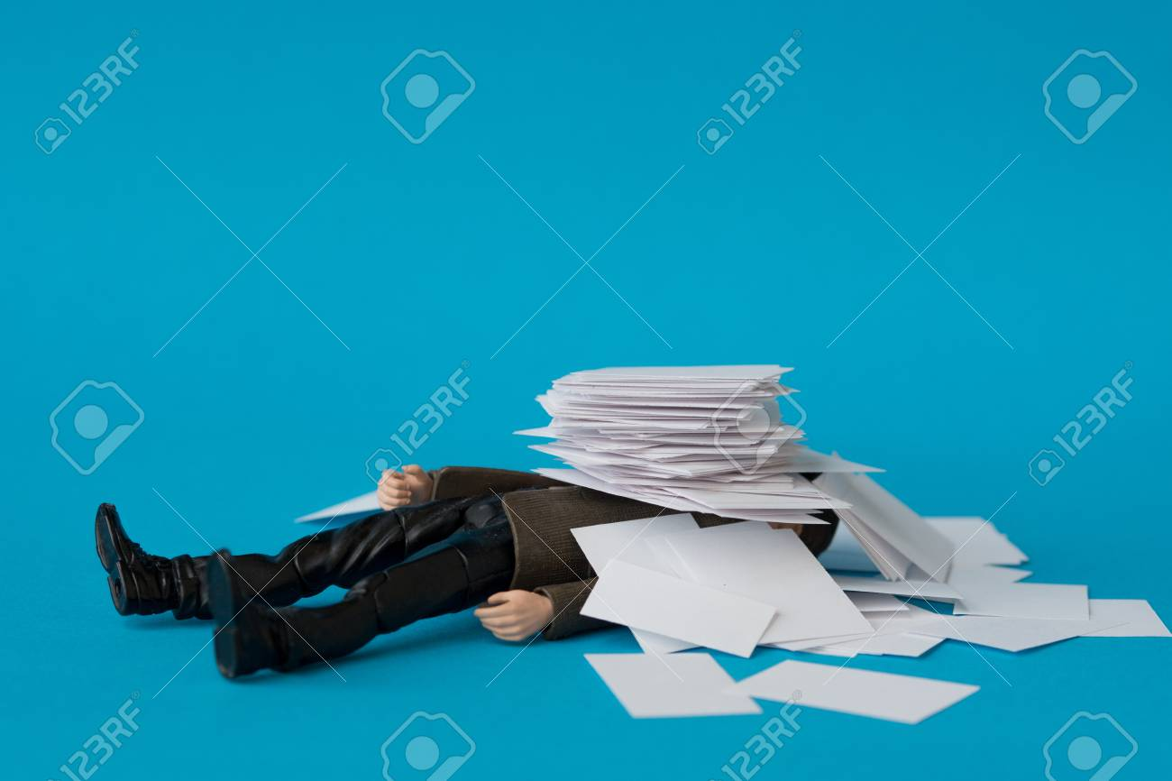 Concept, people swamped with paperwork - 90082159