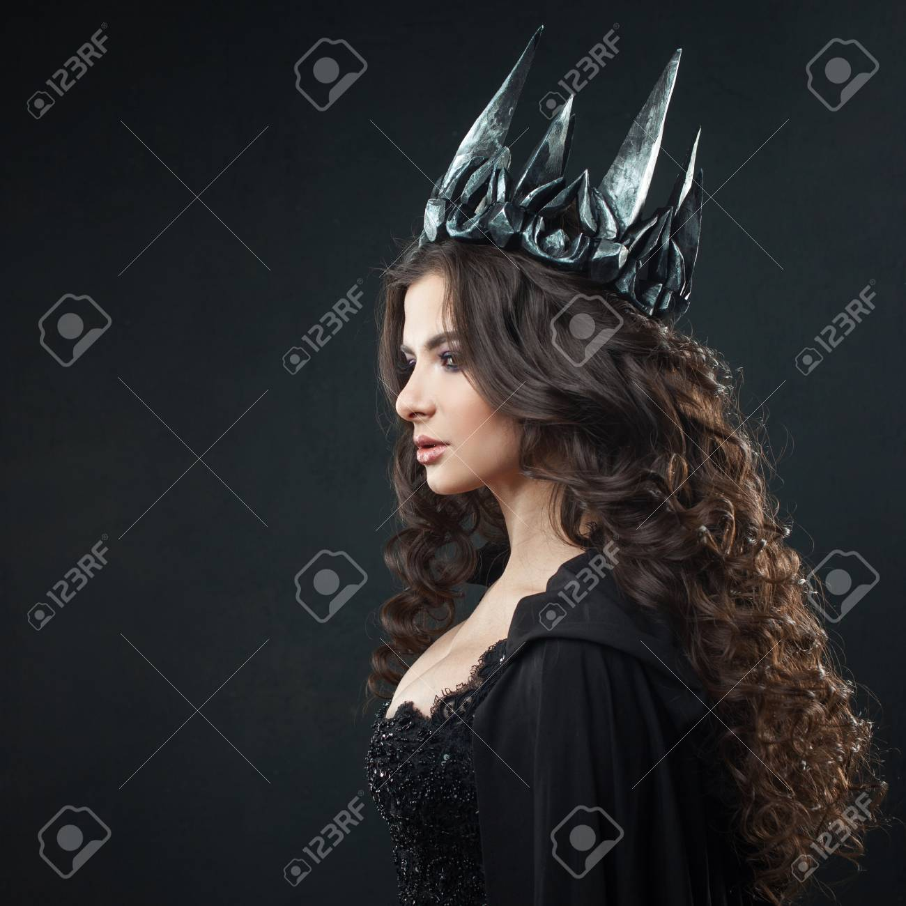 Womens Gothic Wicked Queen Black Tiara