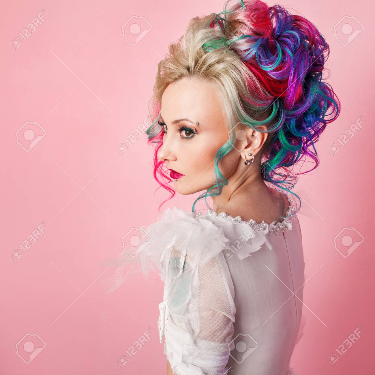 Cool Young Woman With Colored Hair Stylish Hairstyle Informal