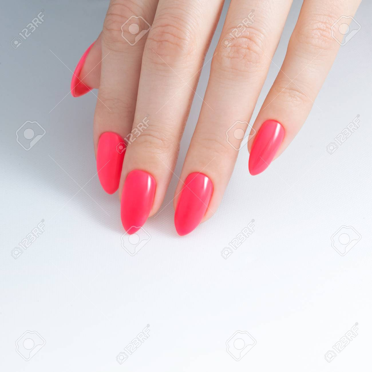 Paint Your Nails. Nail Polish, Gel Coating, Red Coral Color... Stock ...