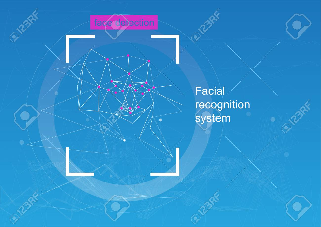 Face recognition, concept  concept of recognition  diagram of