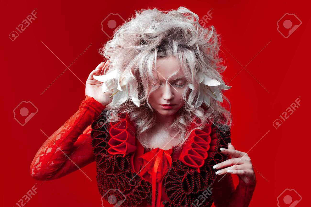 Shades Of Red Strange Attractive Blonde Woman With White Eyelashes Stock Photo Picture And Royalty Free Image Image 130617991