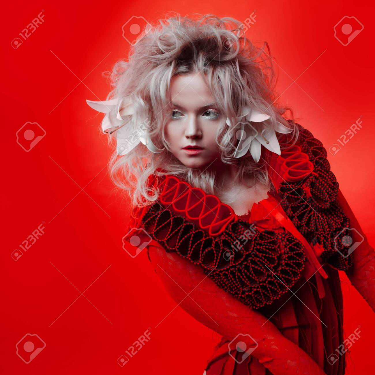 Shades Of Red Strange Attractive Blonde Woman With White Eyelashes Stock Photo Picture And Royalty Free Image Image 131518211