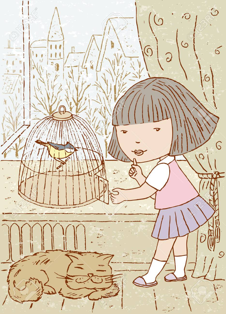 Vector Drawing Of A Little Girl With A Bird Cage