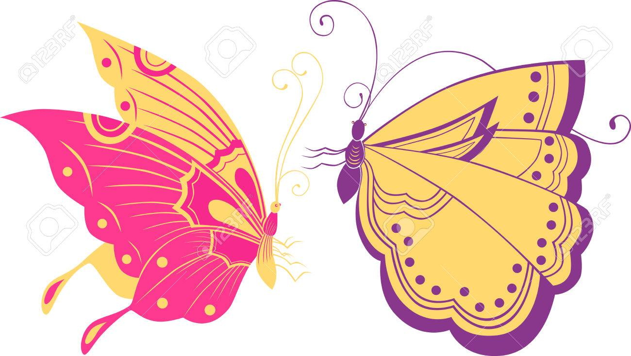 The Vector Image Of The Decorative Butterflies. Royalty Free ...