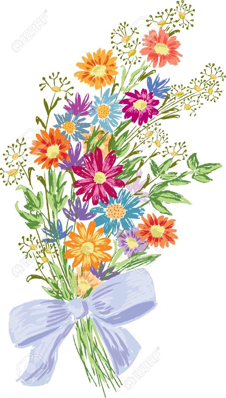 Dessin à La Main Dun Bouquet Dété Des Fleurs Sauvages