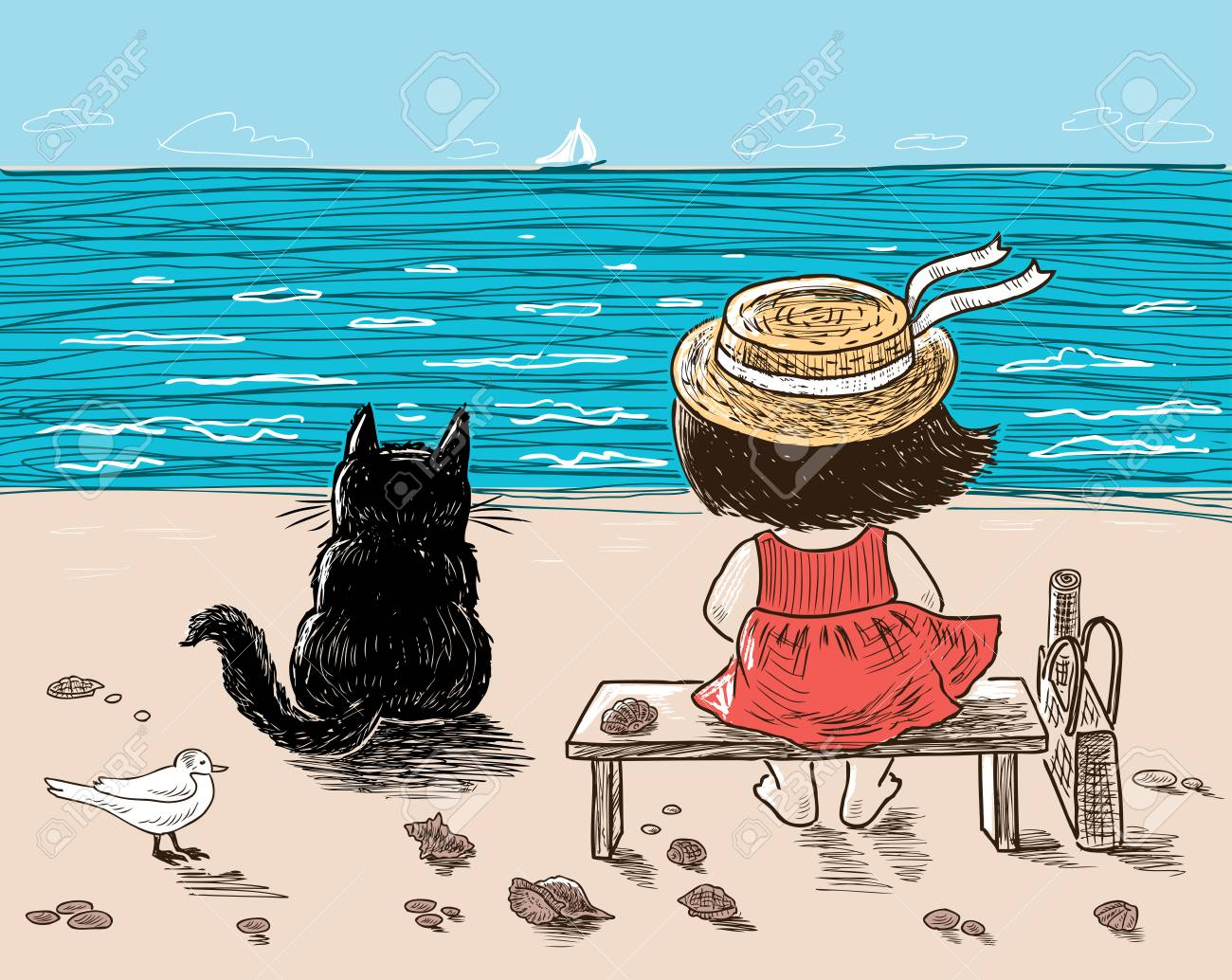 2bd3be578ef7 A little girl and her cat are sitting on the seashore Stock Vector -  92757428