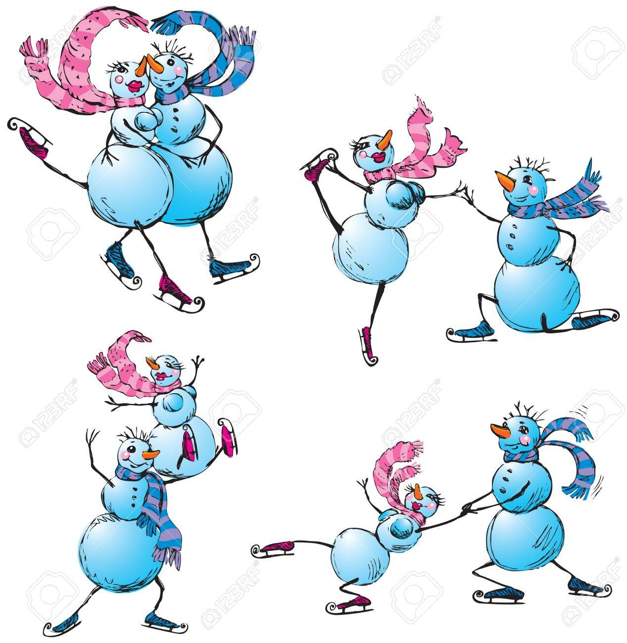 Set of skating happy couple - snowman and snow woman Stock Vector - 11034405