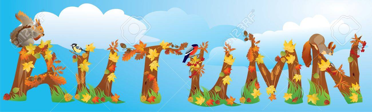 Word AUTUMN is made of autumn leafs, yields, squirrels and little birds - bullfinch and tomtit Stock Vector - 11101447