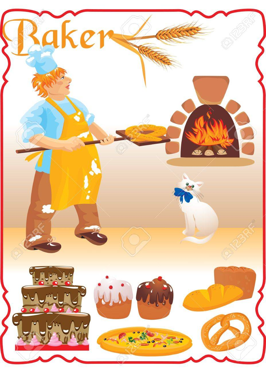 young red haired baker with white cat next to fire place and set of different bakery - bread, biscuit, cake, pizza, Easter cake. Stock Vector - 11142131