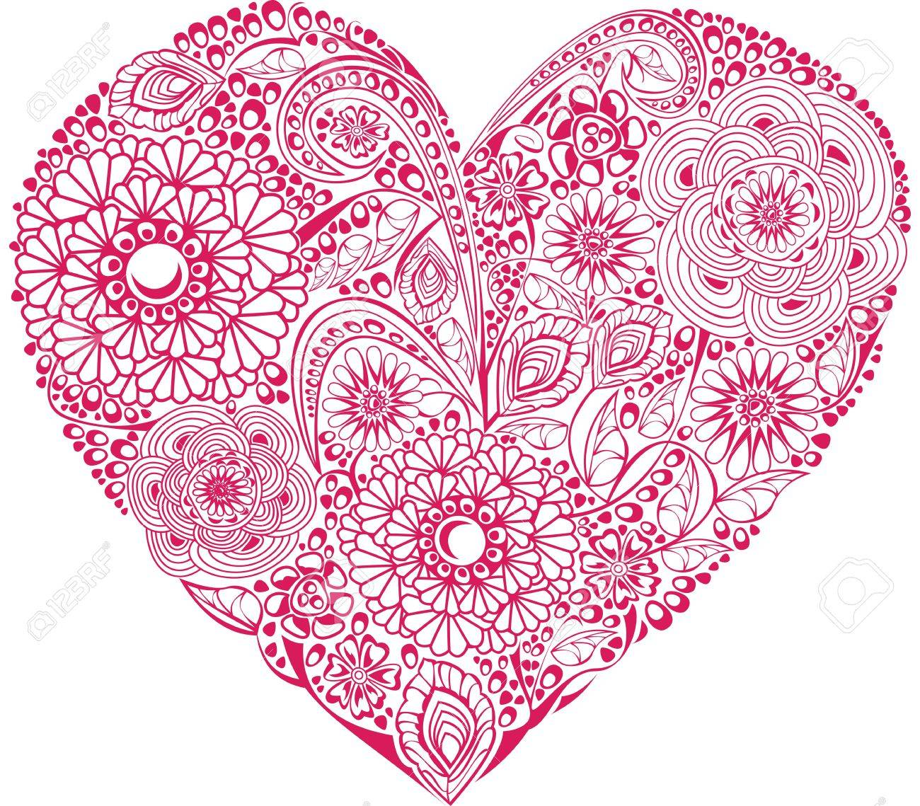 Red floral heart on white background. Element for your Valentine`s Day Design Stock Vector - 11142386