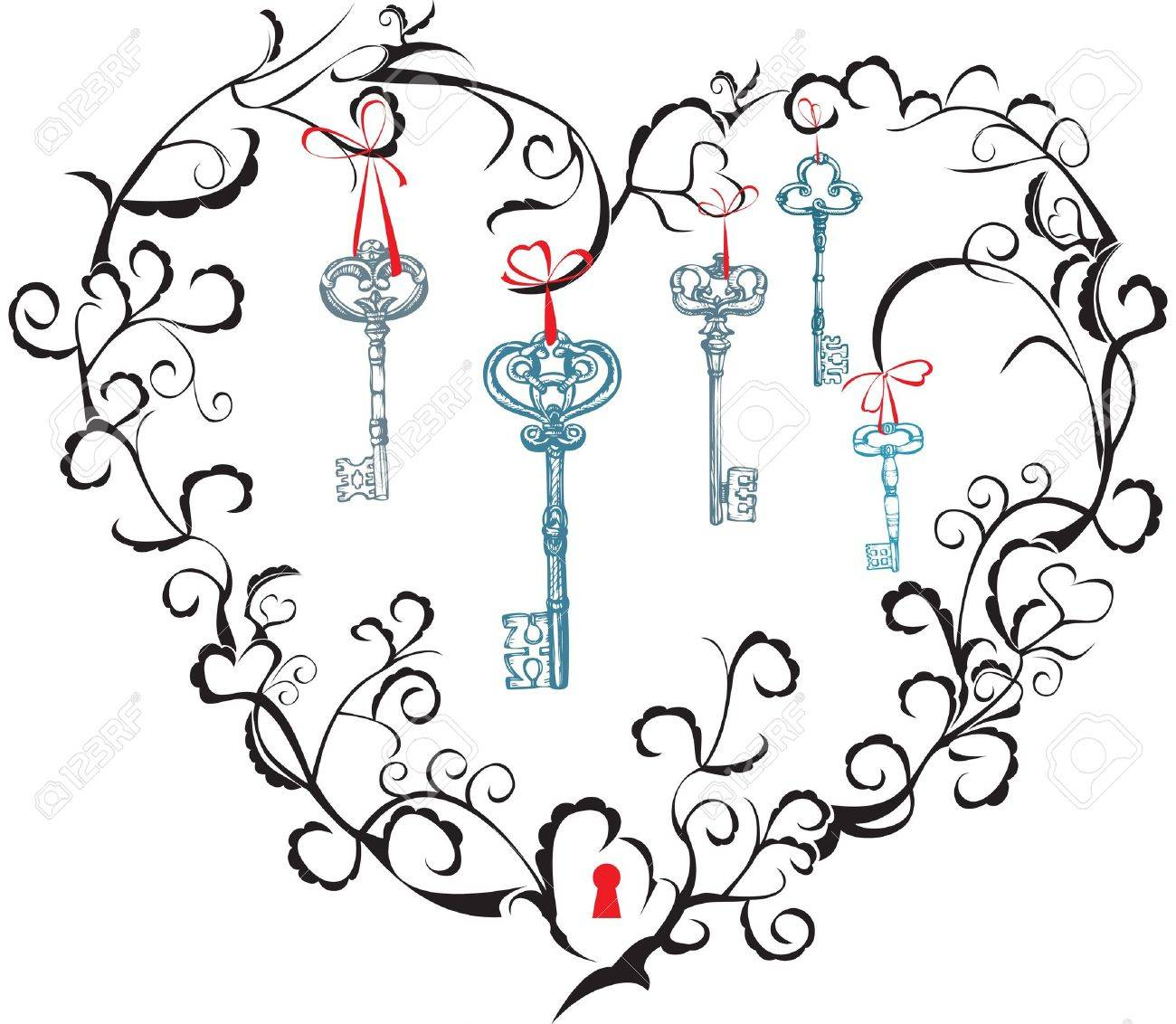 Concept for Valentine`s Day - heart, keyhole and keys Stock Vector - 11142379