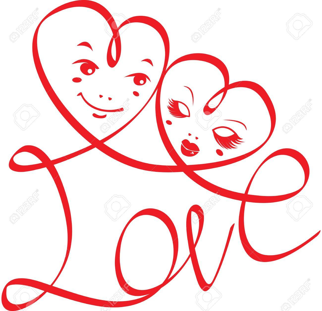 Word LOVE with hearts and funny faces isolated on white background. design for Valentine`s Day or Wedding invitation Stock Vector - 11142140