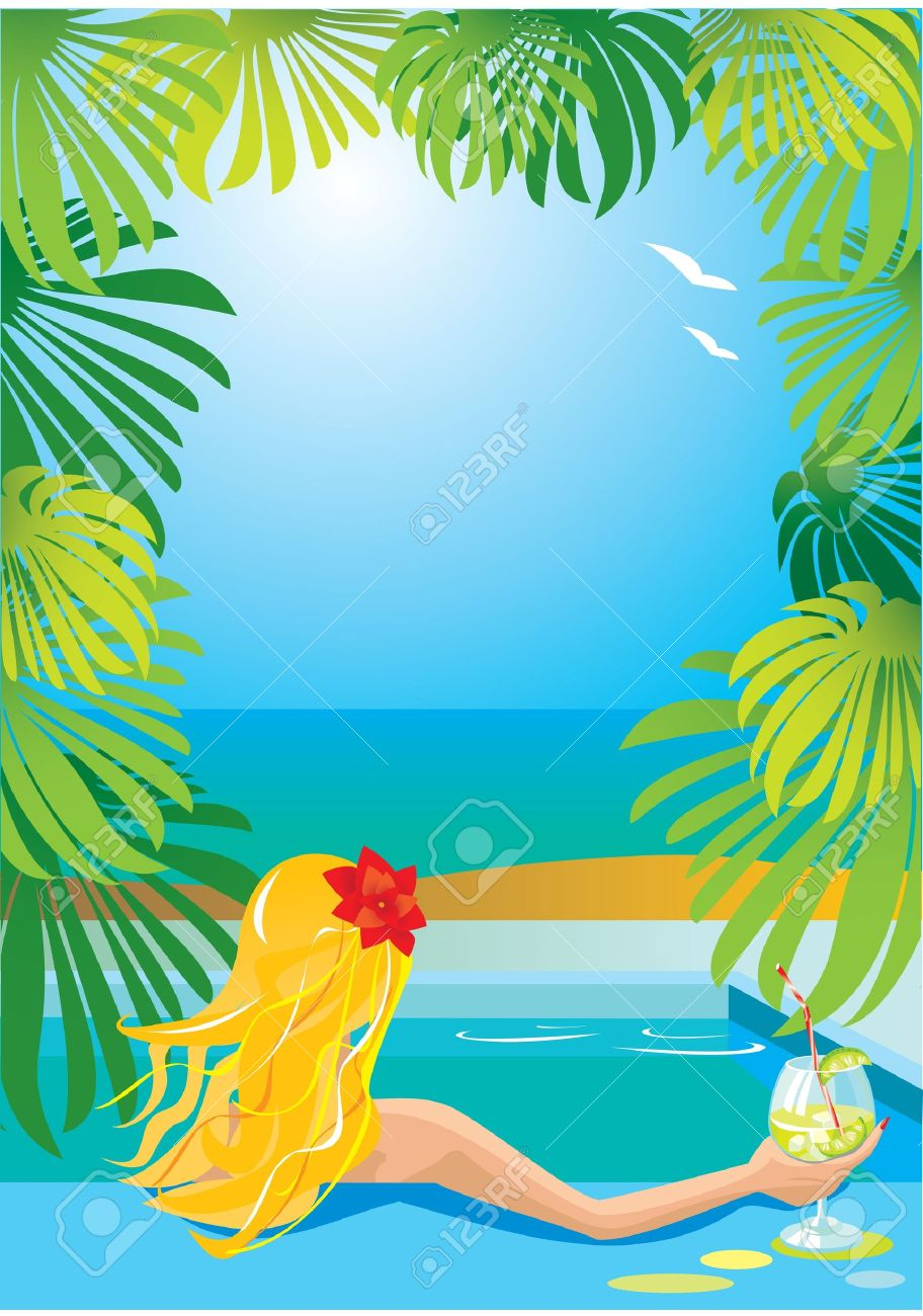 Border with girl in swimming pool with cocktail Stock Vector - 11142326