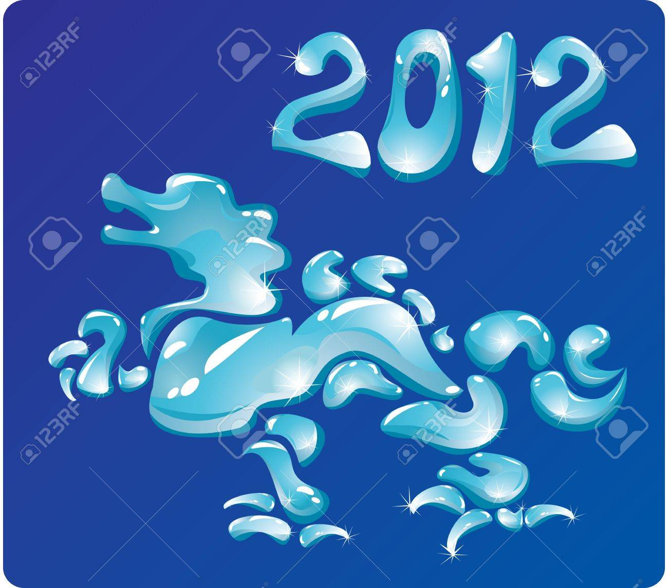 Symbol 2012 Dragon is made of water drops. Stock Vector - 11142368