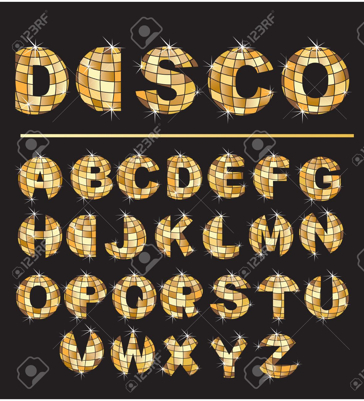 Alphabet - Gold disco ball letters Stock Vector - 11142247