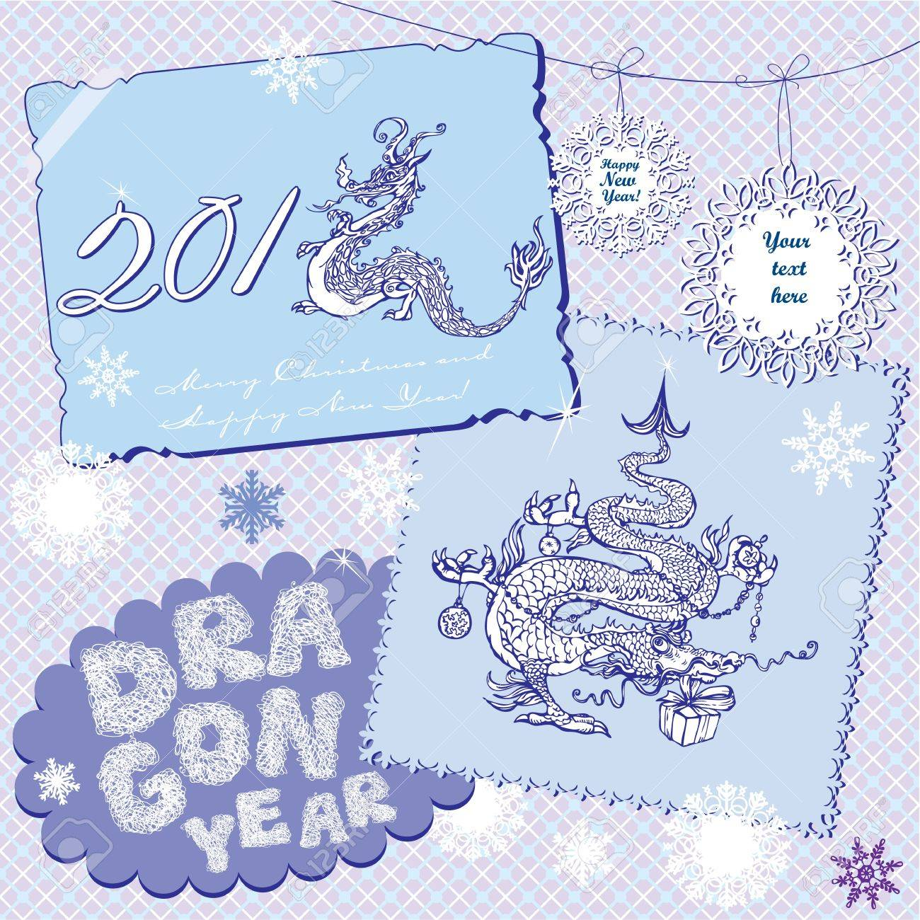 New Year Postcards in retro style with symbol 2012 dragon on light blue background. Stock Vector - 11142220
