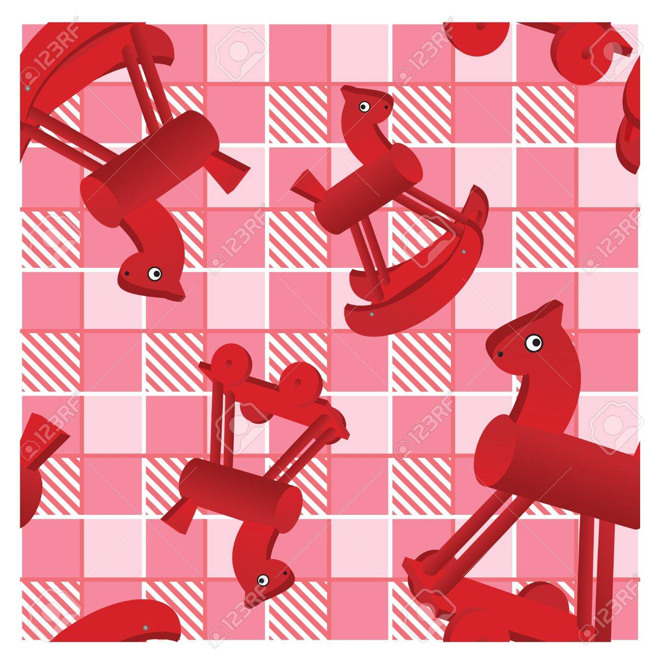 Seamless Pattern With Toys Red Horses On Checked Pink Background Royalty Free Cliparts Vectors And Stock Illustration Image 11142215