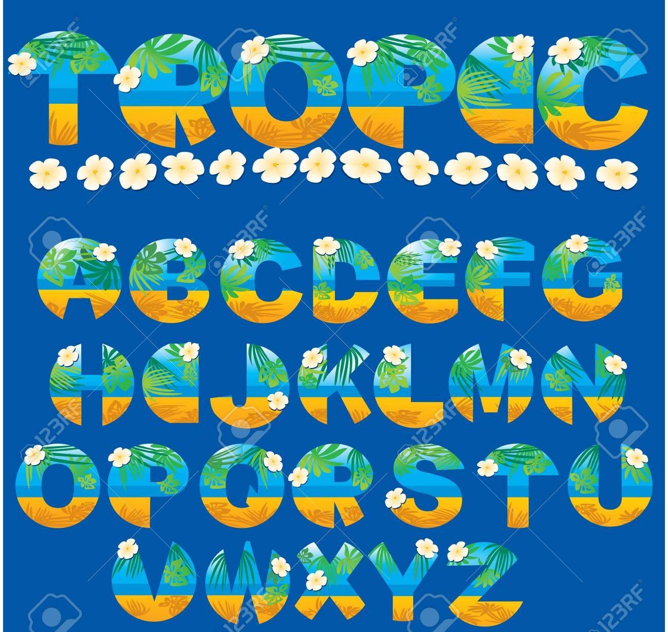 alphabet tropical letters stock vector 11142155