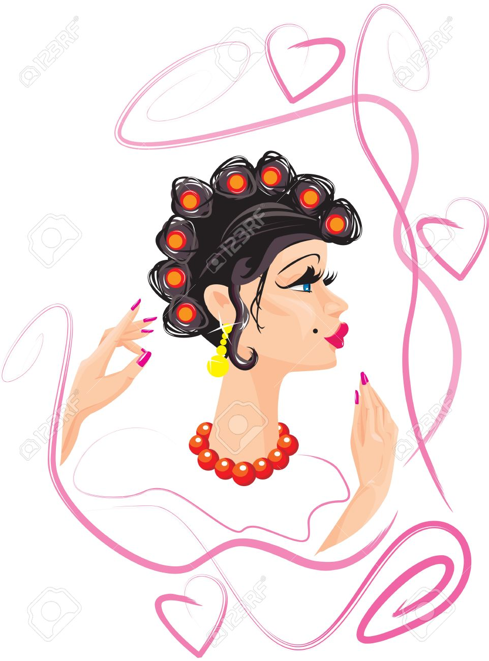 funny woman cartoon with hair rollers Stock Vector - 11142195