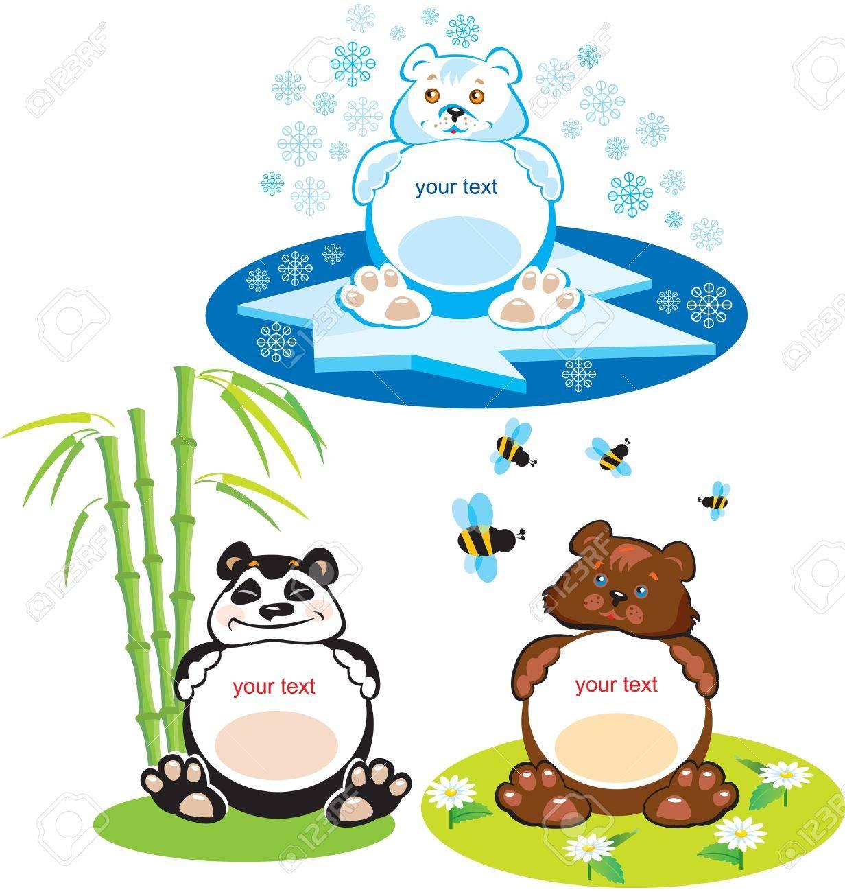 set of oval frames animals for kids 3 bears brown bear