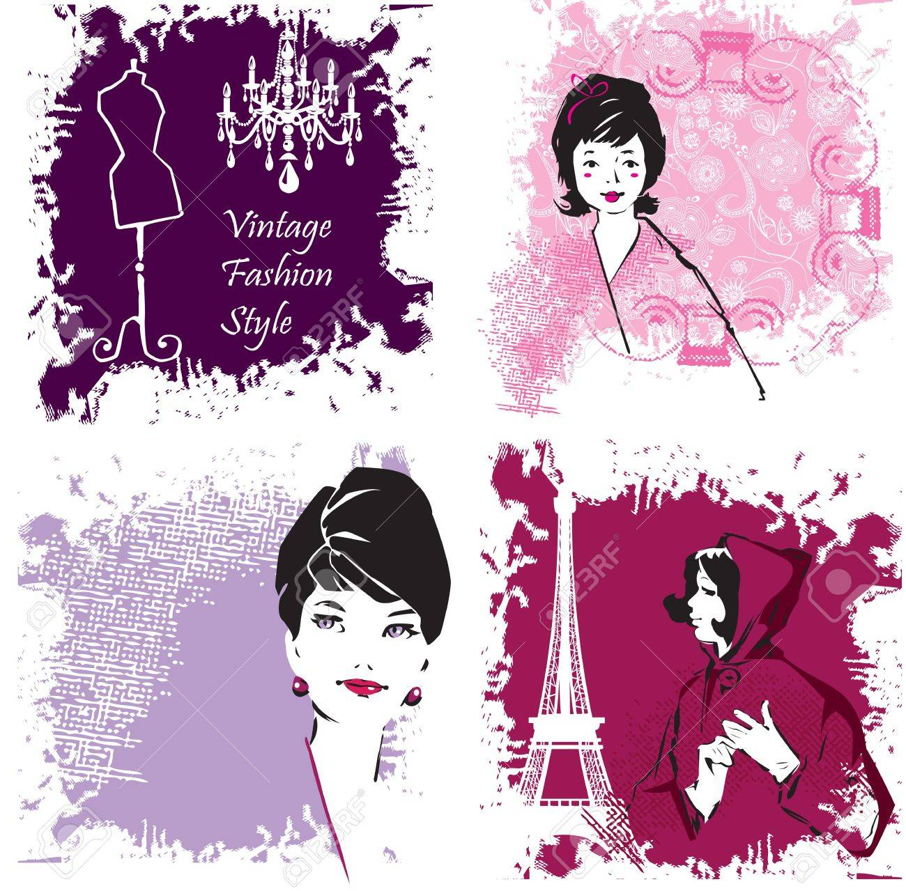 Set of Fashion Woman image retro cards Stock Vector - 12482934
