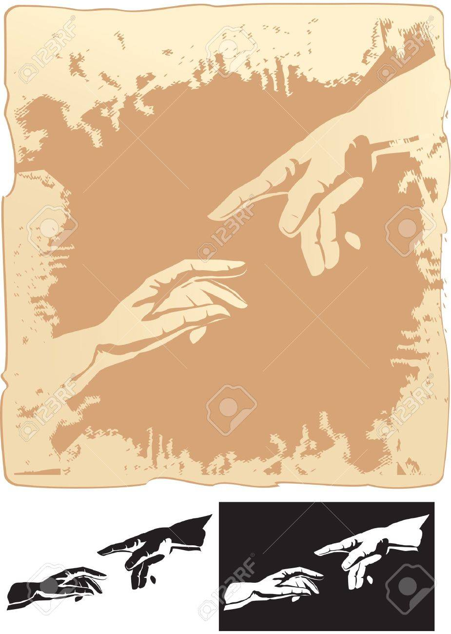 two hands stylized for michelangelo s creation mural Stock Vector - 12482948