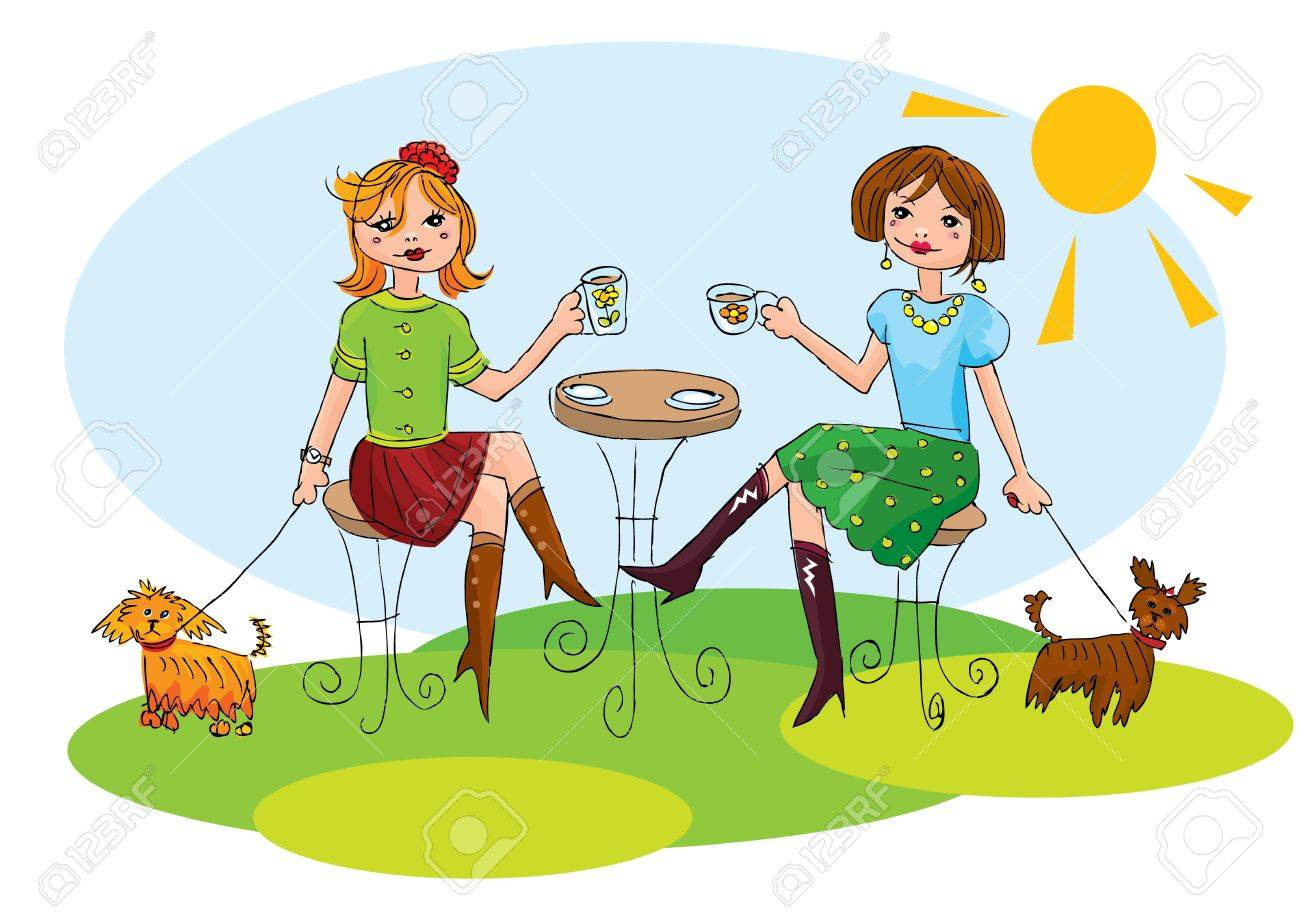 Happy friends have cups of coffee and chatting Stock Vector - 14228647