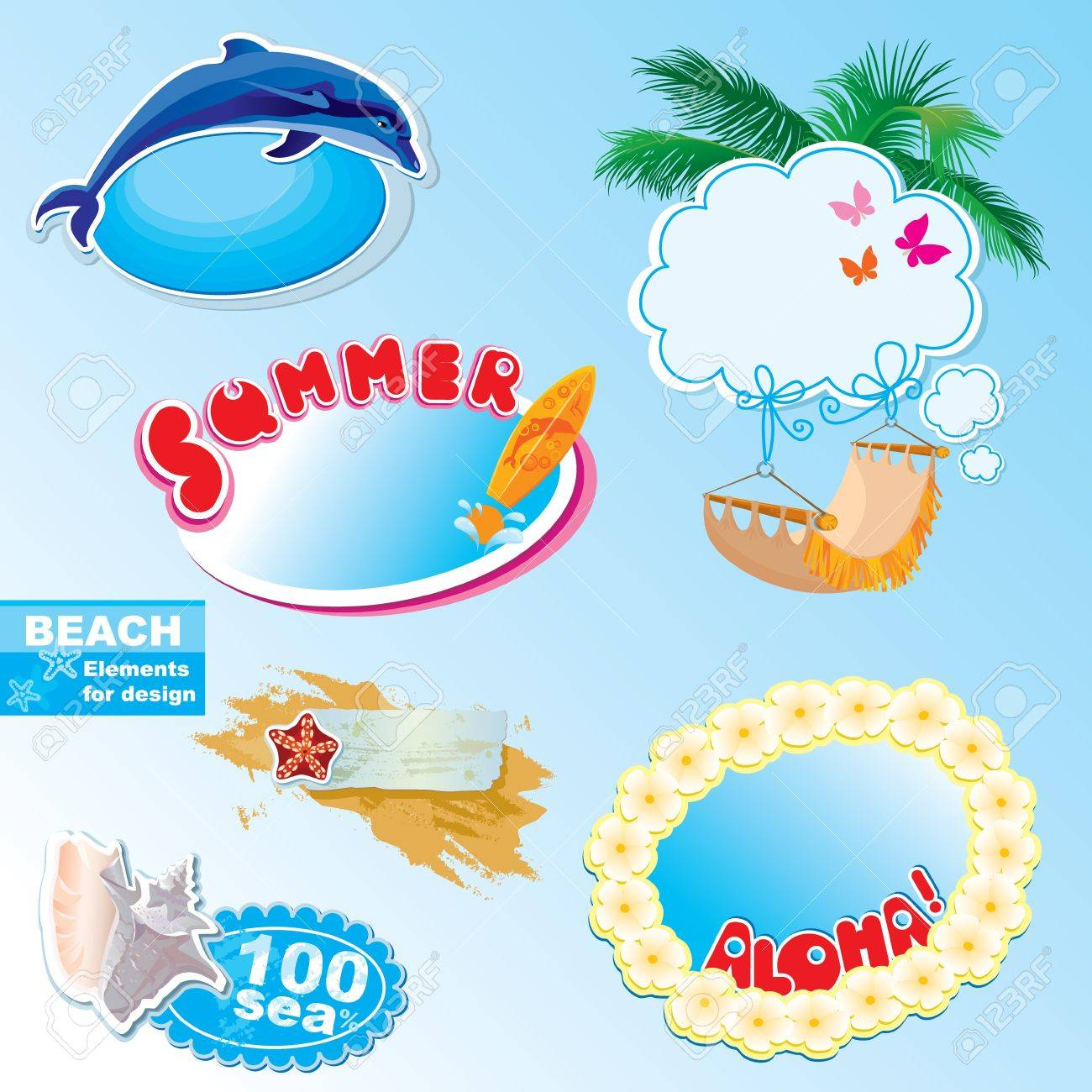 Summer Beach Frames And Elements Set Royalty Free Cliparts, Vectors ...