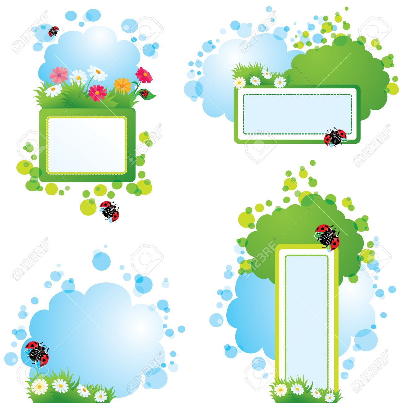 Set Of Summer Backgrounds And Frames With Grass, Flowers And ...