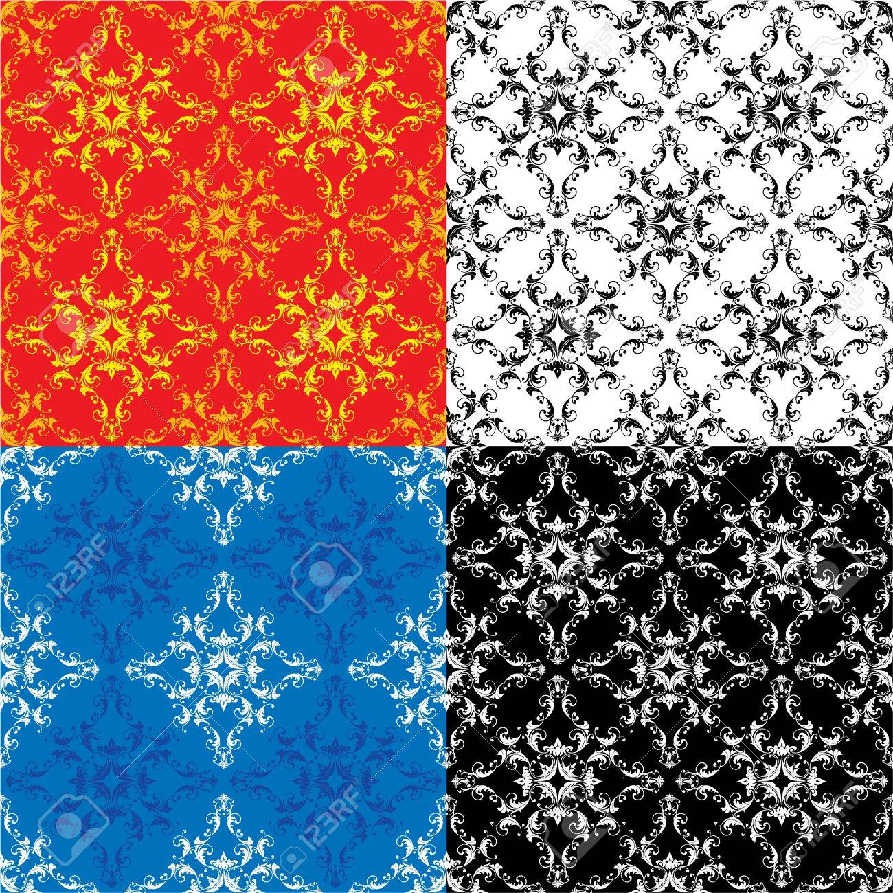 Set of 4 different colors seamless textures - vintage ornamental patterns Stock Vector - 14563738