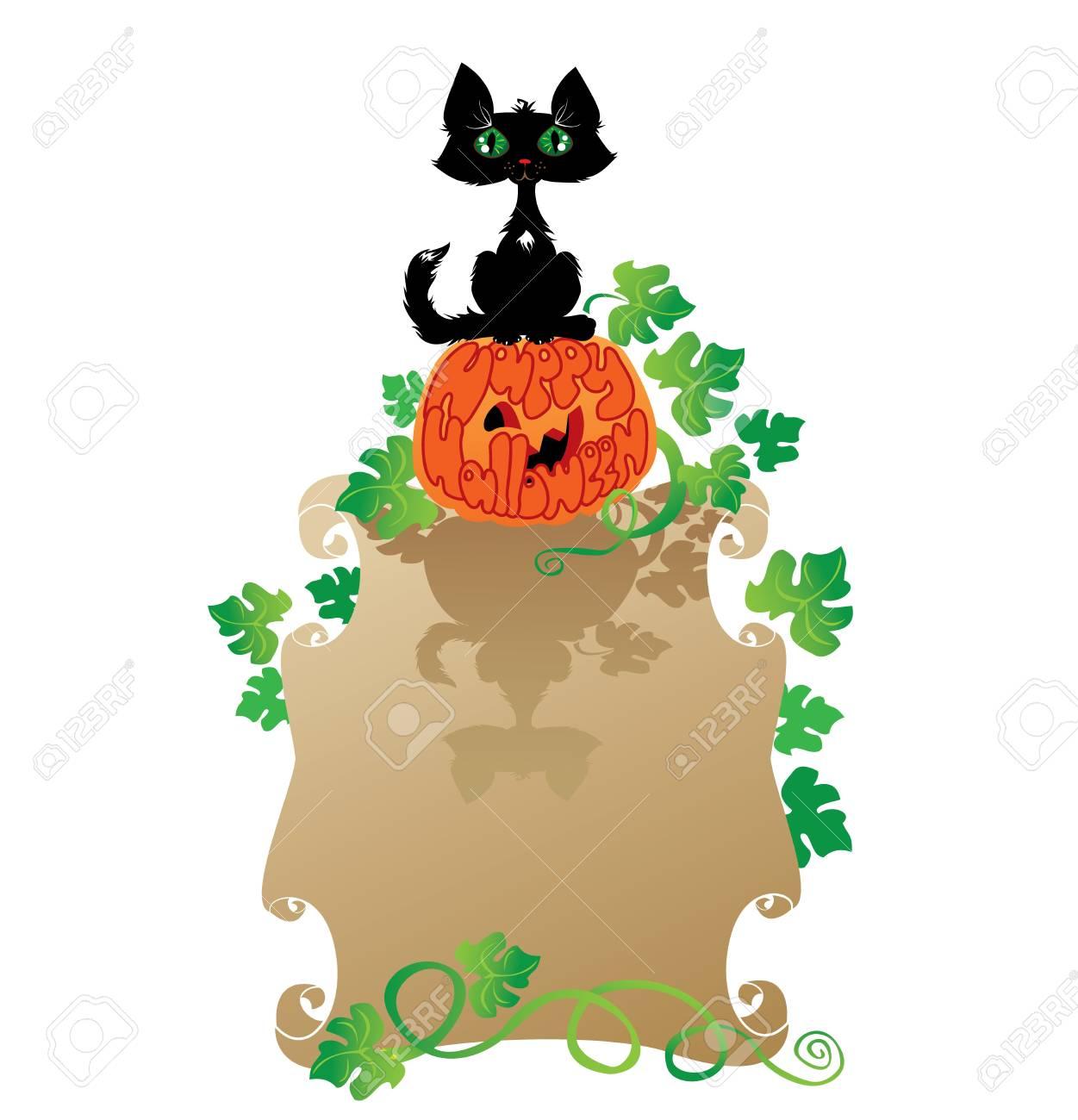 Funny Halloween Cat and Pumpkin Stock Vector - 15499476