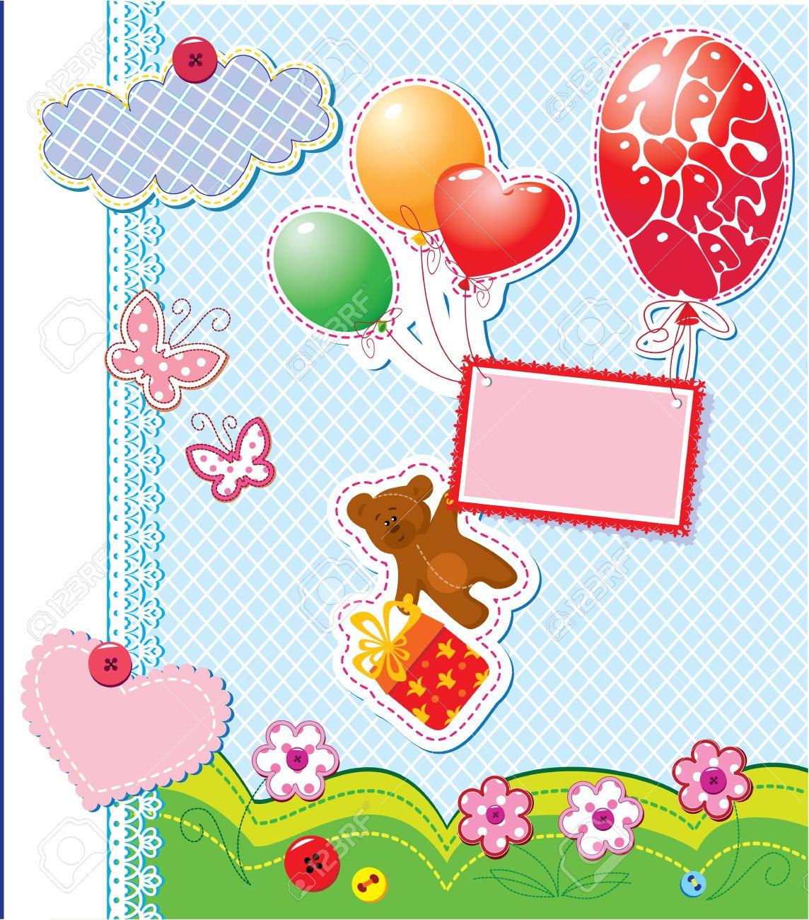 Carte Danniversaire Bébé Avec Ourson Et Boîte Cadeau Avec Des Ballons Volants