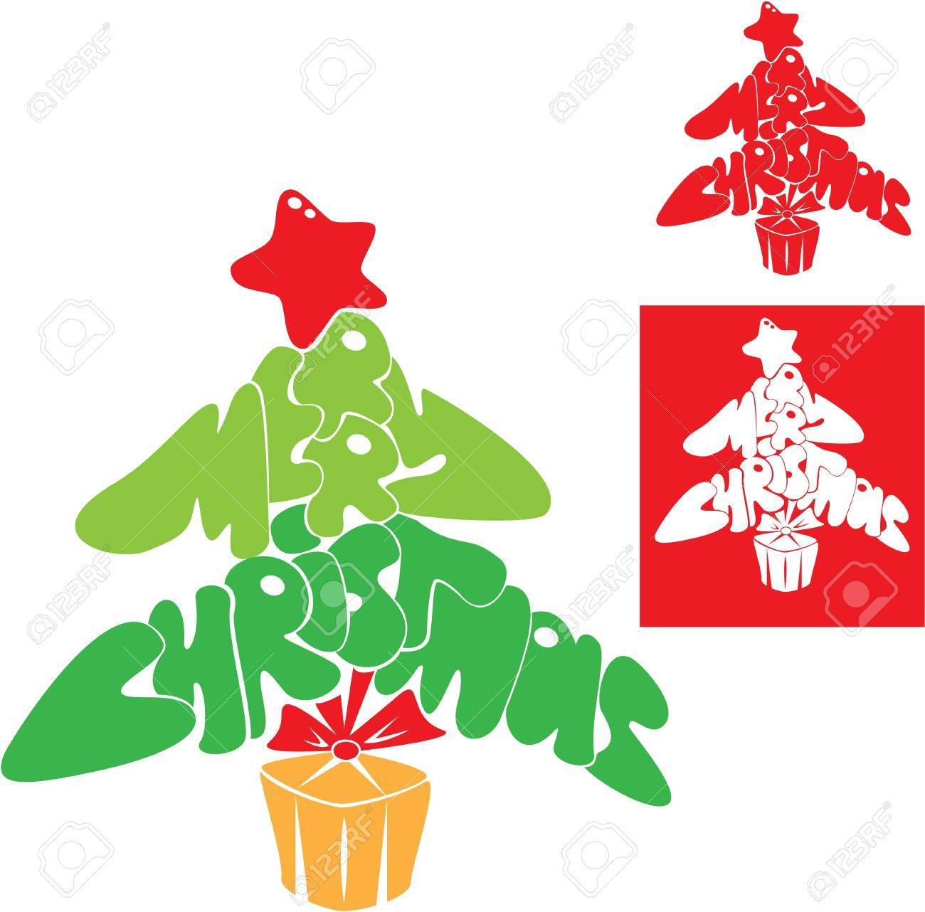 Abstract Merry Christmas card - Christmas tree is made of letters Stock Vector - 16145999
