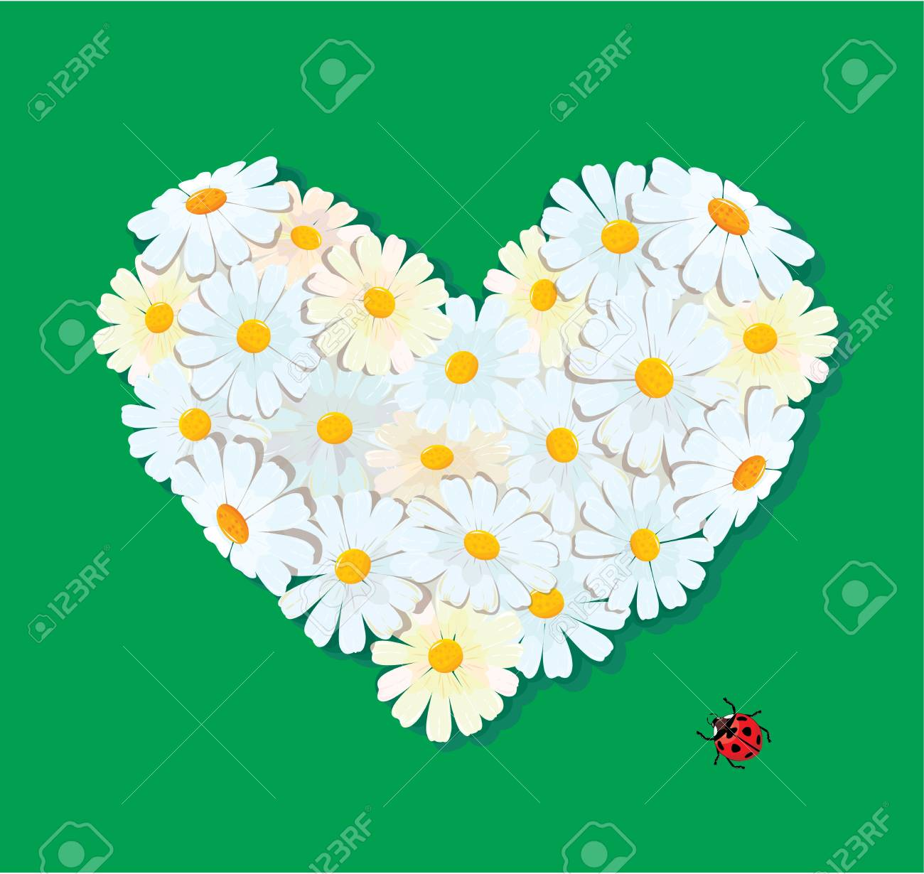 Heart is made of daisies on a green background. Valentines day card. Stock Vector - 16380581