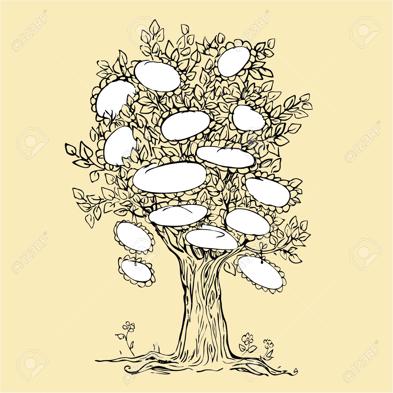 Family tree design with empty frames for text - Sketchy drawing picture Stock Vector - 17451775