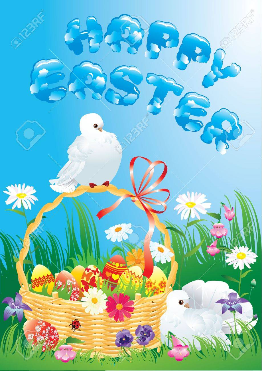 Greeting card with doves, spring flowers, basket and easter eggs Stock Vector - 17594449