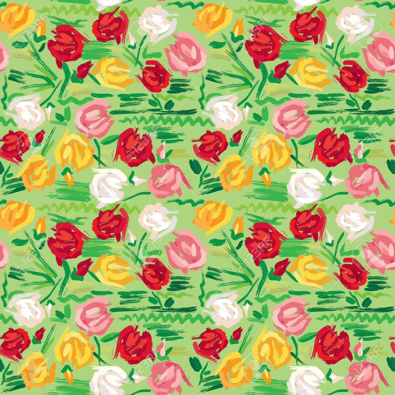 Hand painted roses seamless pattern in pink, red, white and yellow tones on green background Stock Vector - 18270874