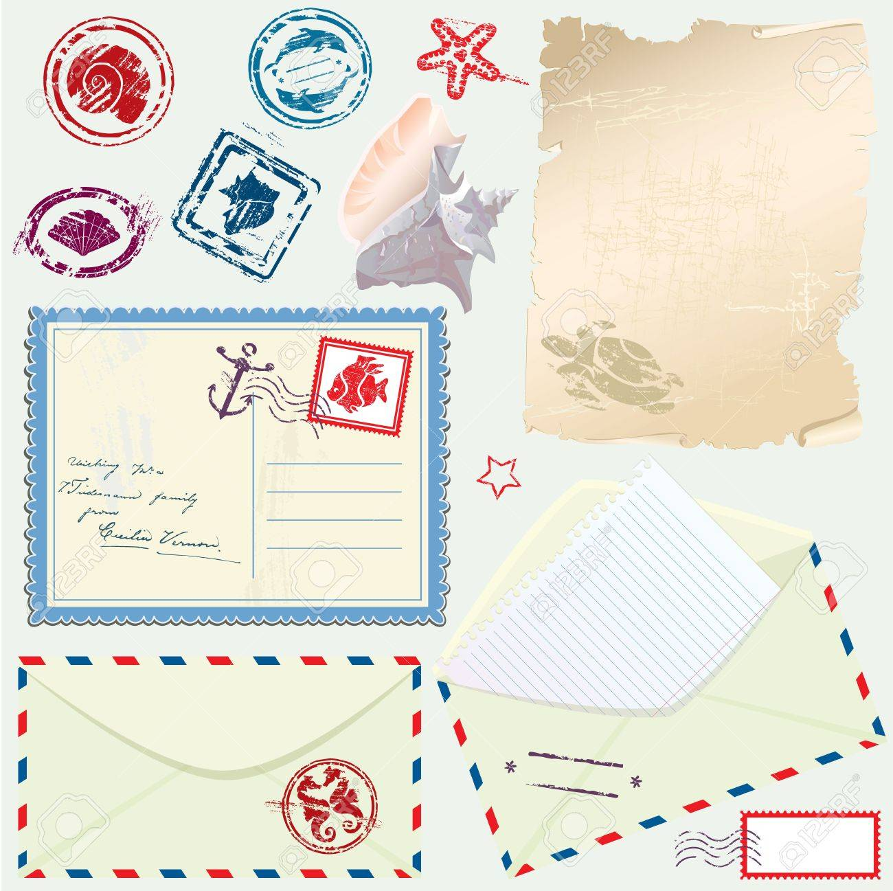 Scrapbook paper envelope - Postcard Envelope And Paper With Retro Nautical Stamps For Design And Scrapbook Stock Vector