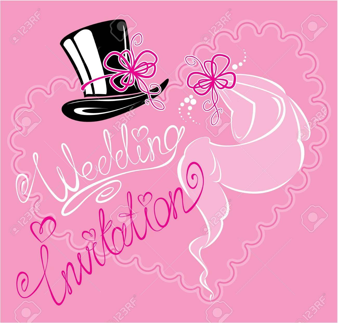 wedding invitation card with wedding veil and groom hat Stock Vector - 19145779