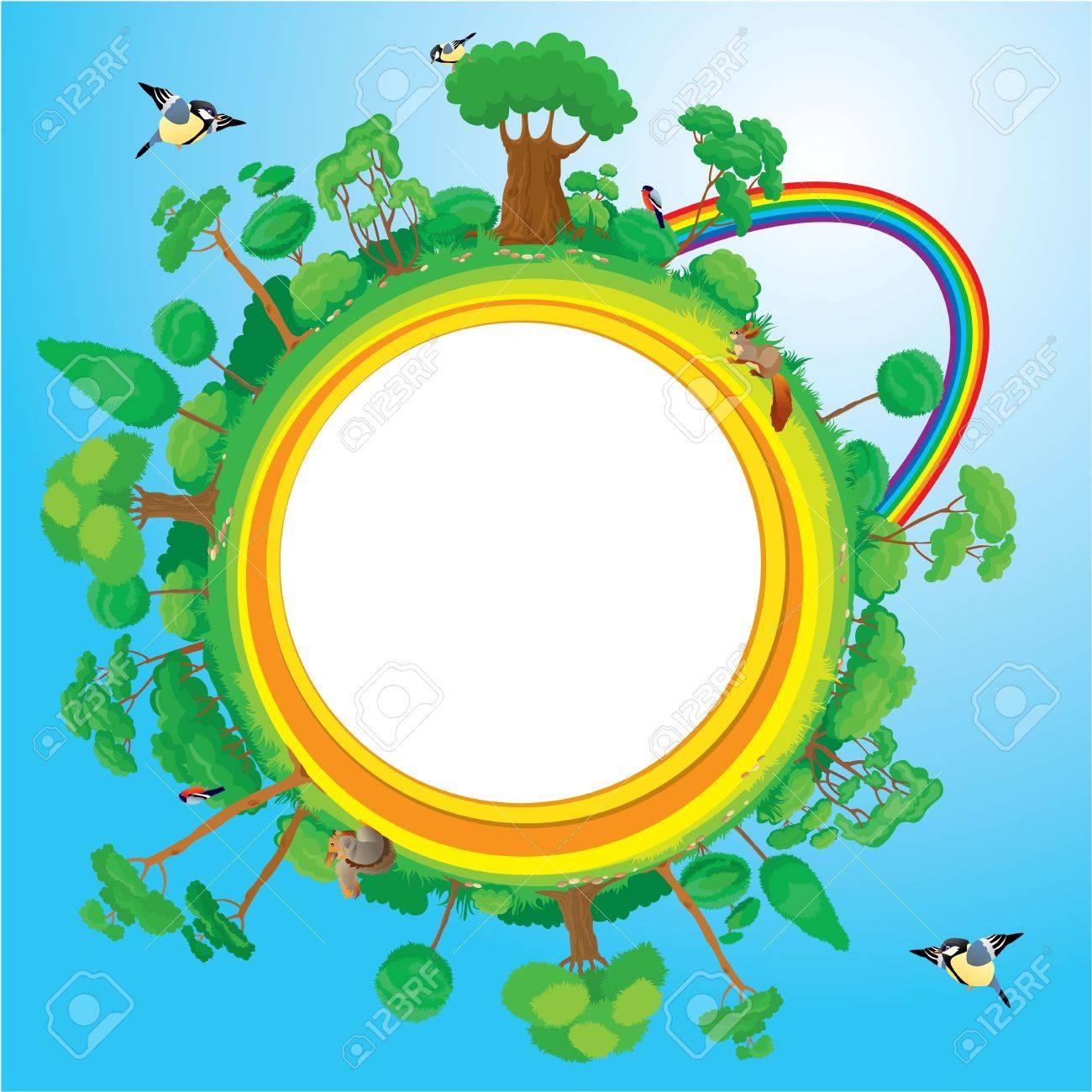 Globe with green trees, birds, animals, rainbow - eco concept Stock Vector - 19367424