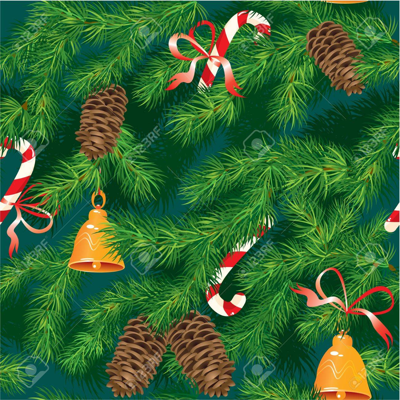 christmas and new year background fir tree texture with xmas accessories seamless pattern stock