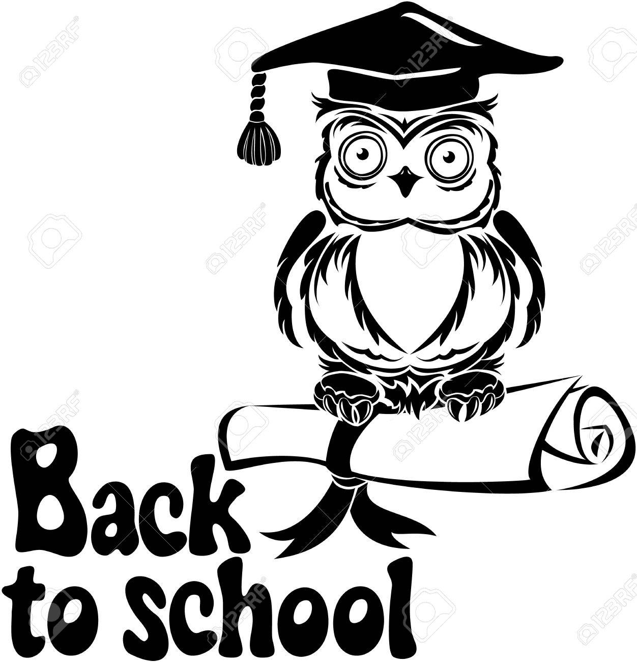 Free coloring pages graduation caps - Owl Hat Decorative Bird Owl With Graduation Cap And Book Isolated On White
