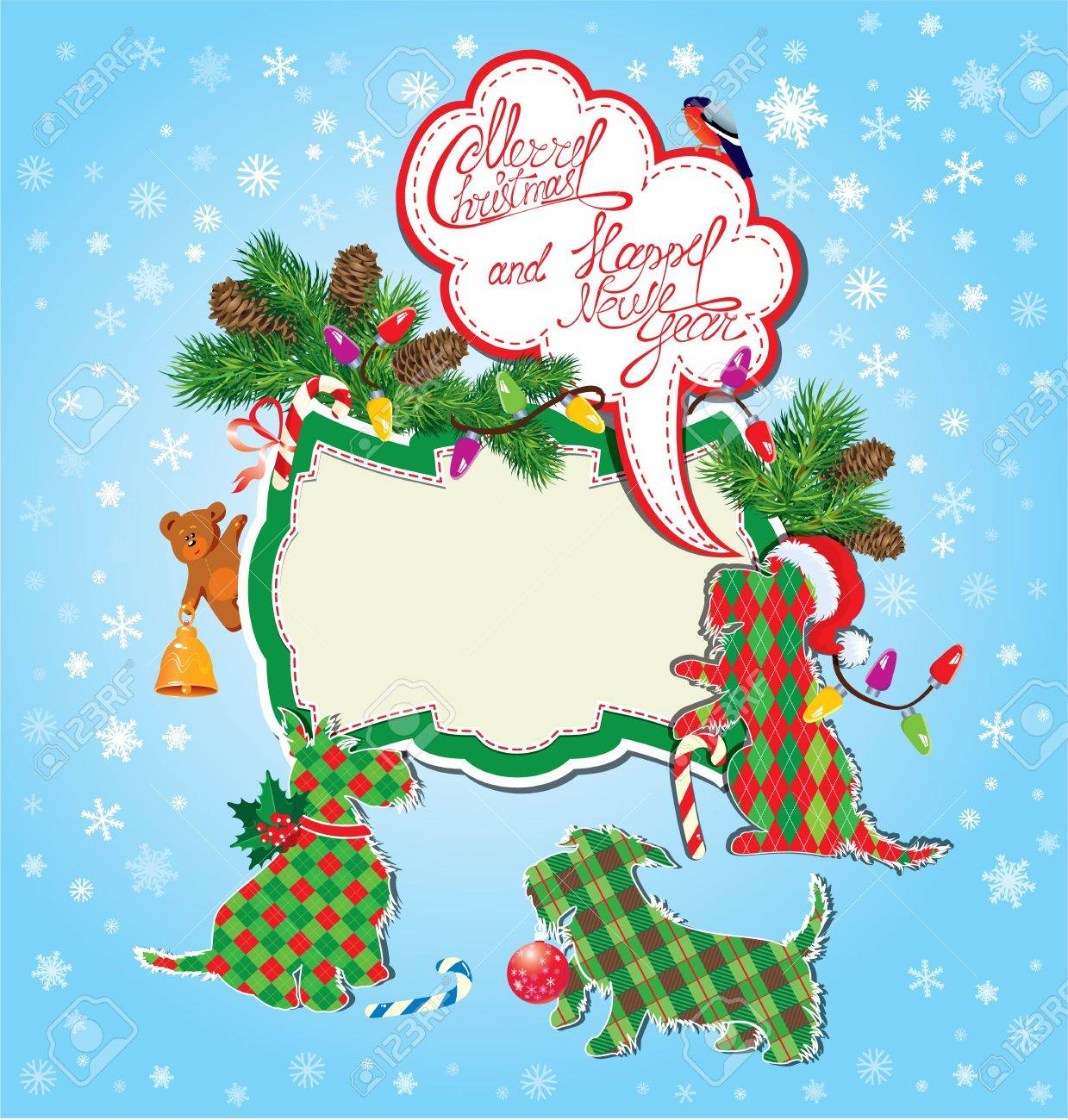 Christmas And New Year Holidays Card With Funny Scottish Terrier ...