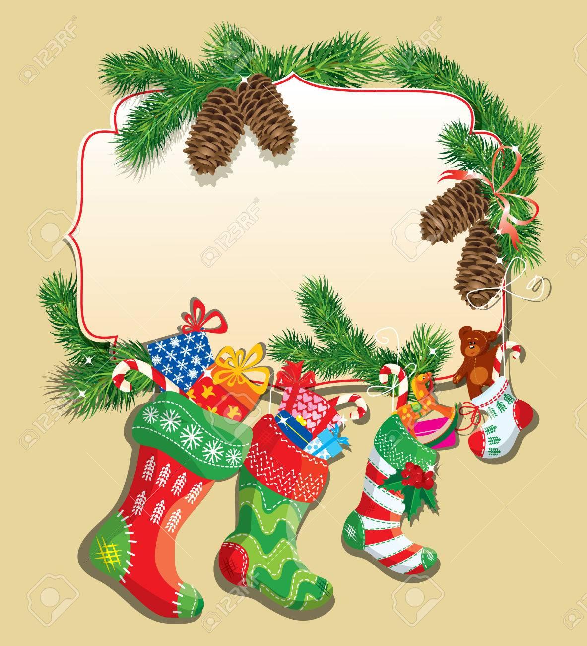 Family Christmas Stockings.X Mas And New Year Card With Family Christmas Stockings Frame