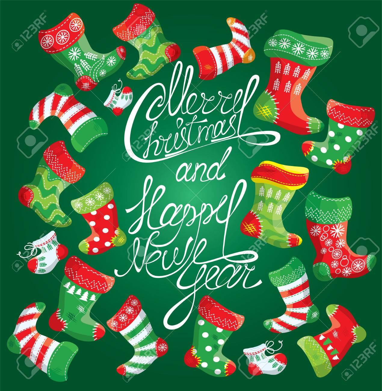 Family Christmas Stockings.X Mas And New Year Card With Family Christmas Stockings